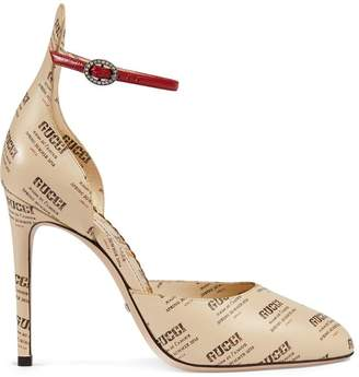 Gucci Leather invite print pump