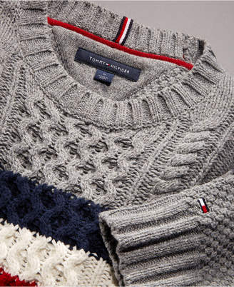Tommy Hilfiger Men's Striped Chest Cable Knit Sweater