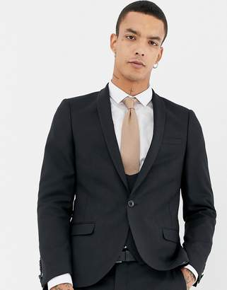 Twisted Tailor super skinny wool mix suit jacket in black