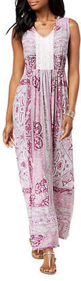 Style&Co. STYLE & CO. Paisley and Crochet V-Neck Sleeveless Maxi Dress