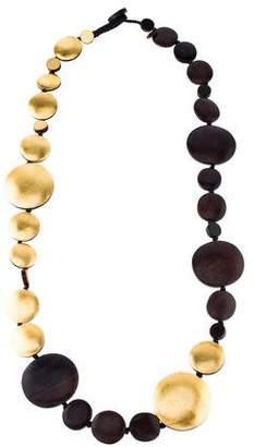 Viktoria Hayman Foil & Wood Long Necklace