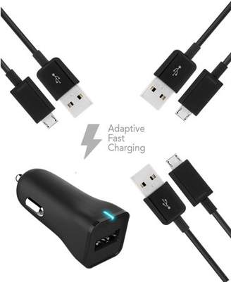 HTC Status Charger Micro USB 2.0 Cable Kit by TruWire { Car Charger + 3 Micro USB Cable} True Digital Adaptive Fast Charging uses dual voltages for up to 50% faster charging!