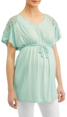 Liz Lange Maternity v neck babydoll top with crochet detail