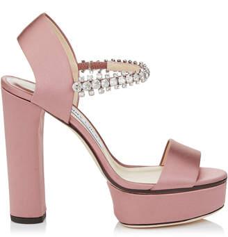 Jimmy Choo SANTINA 125 Rosewood Satin Platform Sandals 44999f1327a