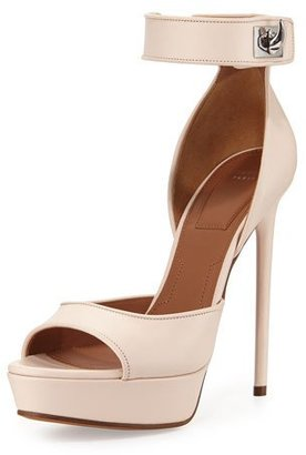 Givenchy Leather Shark-Lock d'Orsay Sandal, Nude Pink $1,095 thestylecure.com