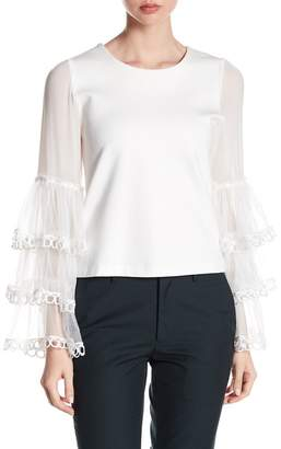 Gracia Layered Mesh Long Sleeve Blouse