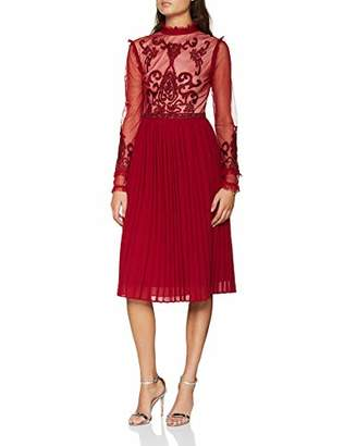F&F Frock and Frill Women's Embroidered high Neck midi Dress with Pleated Skirt Party (Red Ff)