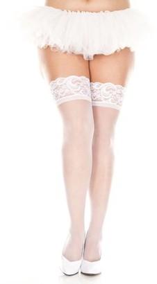 Music Legs Plus Size Silicone lace top spandex sheer thigh hi 4139Q-WHITE