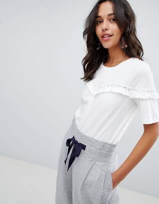 Vila Ruffle T-Shirt With Crochet Trim