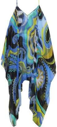 Emilio Pucci Cold-Shoulder Metallic Printed Silk-Blend Chiffon Coverup
