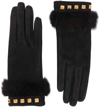 Portolano Mario Suede Gloves With Mink Fur & Studs