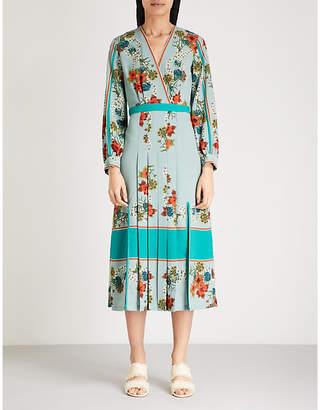Sandro Floral kimono split sides crepe dress
