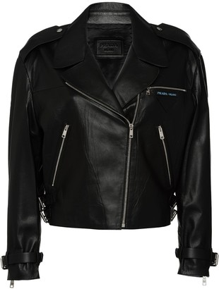 Prada cropped leather biker jacket with zipper