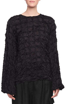 The Row Brenda Crewneck Long-Sleeve Pintucked Silk Top