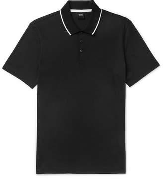 HUGO BOSS Contrast-tipped Cotton-jersey Polo Shirt - Black