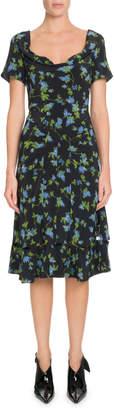 Altuzarra Scoop-Neck Cap-Sleeve A-Line Floral-Print Dress