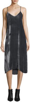 ATM Anthony Thomas Melillo V-Neck Drapey Velvet Camisole Midi Dress