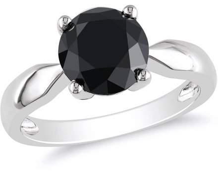 Asteria 10kt White Gold 3 Carat T.W. Black Diamond Engagement Ring (8mm)