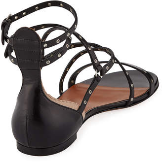 Valentino Leather Grommet Flat Sandals