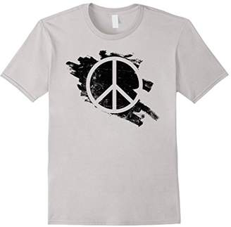 Peace Symbol Vintage Distressed Paint Stencil Hippie T-Shirt