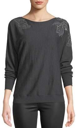 Lafayette 148 New York Dolman-Sleeve Merino Wool Sweater w/ Embroidery