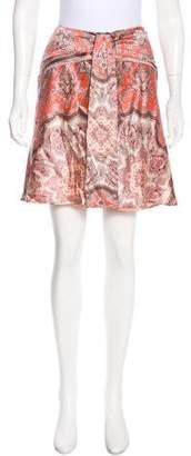 Blumarine Silk Mini Flare Skirt
