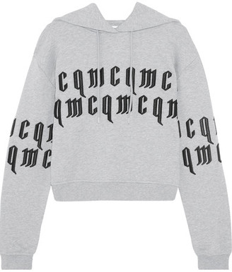 McQ Alexander McQueen - Appliquéd Cropped Cotton-jersey Hooded Top - Gray $370 thestylecure.com
