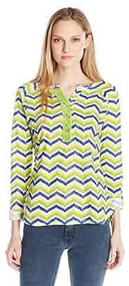 Caribbean Joe Women's Multi Color Zig Zag Stripe Printed Slub Jersey Long Sleeve Top