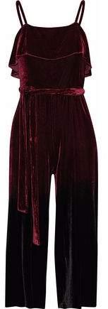 Ally Cropped Ruffled Velvet Jumpsuit