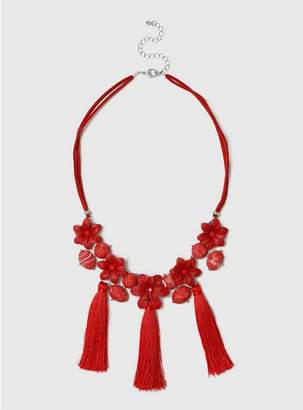 Evans Red Flower Tassel Collar Necklace
