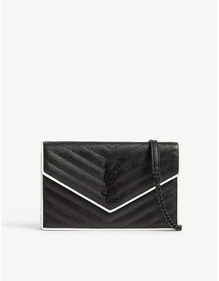Saint Laurent Monogram pebbled leather wallet-on-chain