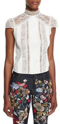 Alice + Olivia Isadora Mock-Neck Lace Top $365 thestylecure.com