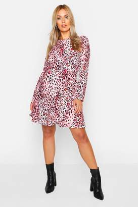 boohoo Plus Wrap Front Woven Animal Skater Dress