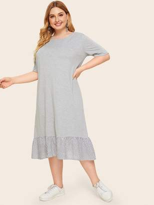 Shein Plus Heather Grey Panel Striped Hem Dress