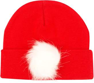 PLH Bows Faux Fur Pompom Knit Hat