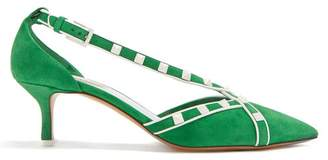 Valentino Free Rockstud Suede Pumps - Womens - Green White