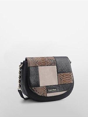 Calvin KleinCalvin Klein Womens Striped Saddle Bag Black/Khaki Snake Patch