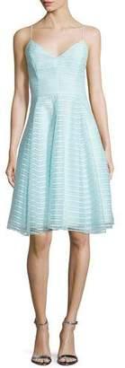 Halston Sleeveless Textured-Stripe Dress, Foam
