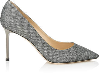 Jimmy Choo ROMY 85 Anthracite Lame Glitter Pointy Toe Pumps
