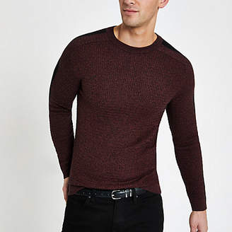 River Island Dark red muscle fit cable knit sweater