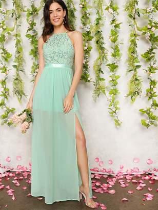 d196ab6fc65 Shein Open Back Lace Halter Top Split Prom Dress