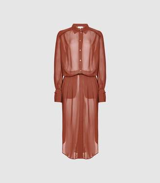 bb44a016c83 Reiss Myla - Longline Sheer Shirt Dress in Rust