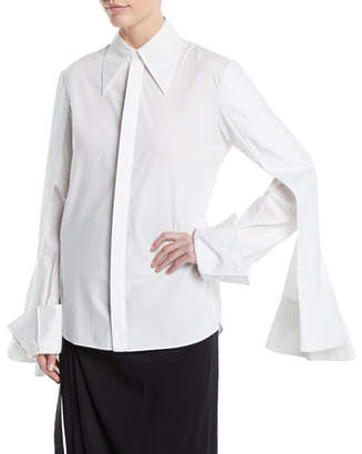 Awake 3-Sleeve Point-Collar Button-Down Cotton Shirt