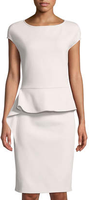 St. John Cap-Sleeve Knit Peplum Dress
