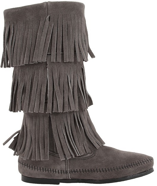 Minnetonka - Calf Hi 3-Layer Fringe Boot Women's Pull-on Boots 4