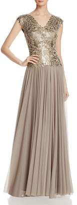 Tadashi Shoji V-Neck Sequin Bodice & Tulle Skirt Gown $428 thestylecure.com