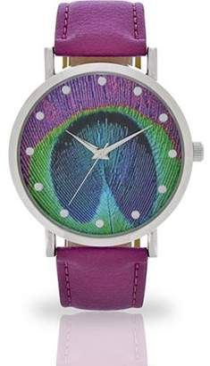 ACCUTIME WATCH CORP Women's Purple Peacock Feather Dial Watch, Faux Leather Band