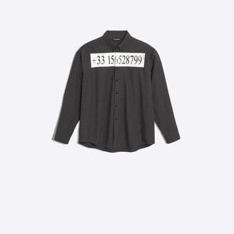 Balenciaga Cotton poplin checked shirt with phone number