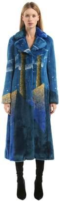 Marco De Vincenzo Surreal Intarsia Faux Fur Long Coat