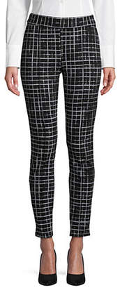 Isaac Mizrahi IMNYC Slim-Fit Checkered Printed Leggings